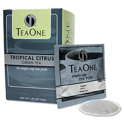 Distant Lands Coffee : Single Cup Tropical Citrus Green Tea Pods, 14 Pods per Box -:- Sold as 1 BX