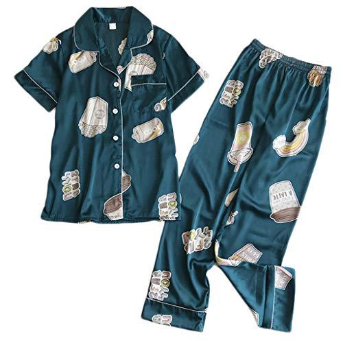 Women's Classic Satin Pajama Set Sleepwear Loungewear Long