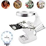 LED Light Helping Hands Magnifier Station -10X Light Clamp/Alligator Clips for Soldering, Assembly, Repair, Modeling, Hobby, Crafts (White)