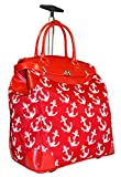 Ever Moda Anchor Travel Bag with Wheels Luggage Carry On for Laptop (Red)