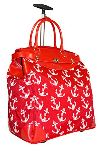 Ever Moda Anchor Travel Bag with Wheels Luggage Carry On for Laptop (Red) by Ever Moda