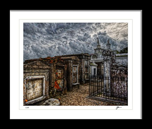 Ombura Haunted St. Louis Cemetery Handmade Wall Art Print. Signed Ltd Edition Painting Print Artwork, Only 500 Avail. - 8x10, Great Creepy Home Decor Gift Idea - Frame Not Included.
