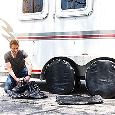 RV Tire Covers Set of 4. Tire Covers For Trailers Extra Thick Black UV Blocking Waterproof Tire Cover Fits 27