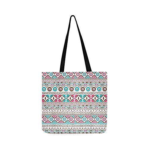 Native American Ethnic Seamless Pattern Theme Vect Canvas Tote Handbag Shoulder Bag Crossbody Bags Purses For Men And Women Shopping Tote