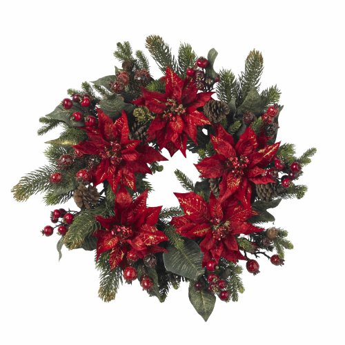 Nearly Natural 4919 Poinsettia and Berry Wreath, 24-Inch, Red ()
