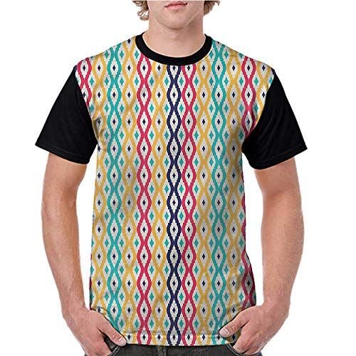 Lightly Casual T Shirts,Trellis,Wavy Lines Arabic Motifs S-XXL Female Baseball Top Tee