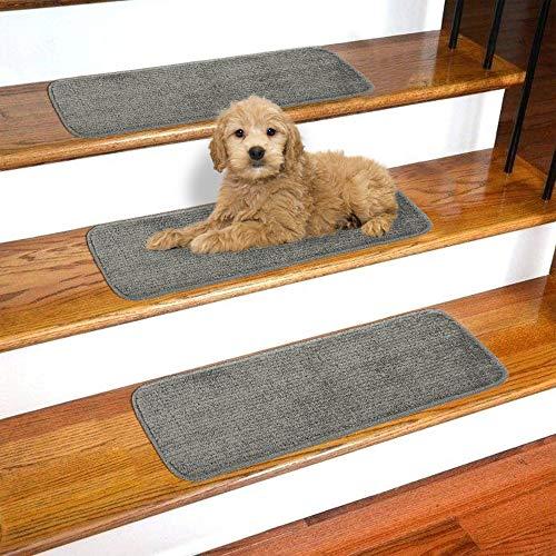 - Ottomanson Softy Solid Dark Grey Set of 14 Skid Resistant Rubber Backing Non Slip Carpet (9