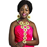 laanc 12 Rows Africa Nigerian Beads Womens 9 Brooch Necklace Bracelet Earrings Wedding Party Jewelry Set (Green and Hot Pink)