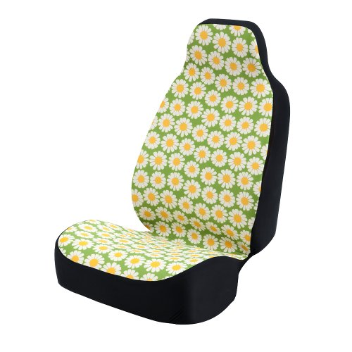 Coverking Universal Fit 50/50 Bucket Flower Fashion Print Seat Cover - Daisy Crazy (Yellow and White Daisies with Green -