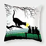 Microfiber Throw Pillow Cushion Cover,Cat,Mother Cat on Tree Branch and Baby Kittens in