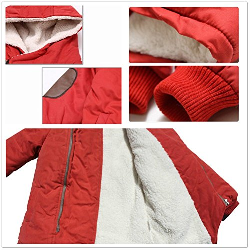 Coat Thick Outerwear Wool Hooded Down Red Winter Coat Boys' Warm Jacket Gaorui Inside Faux Fur OTwqn