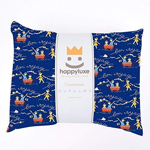 Sleepover Pillow Cases - HappyLuxe Kids Pillow and Pillowcase, 100% Cotton, 13X18, for Girls and Boys, Camping, Sleepovers, Hypoallergenic, Machine Washable, Great Gift, Made in USA (Bon Voyage)