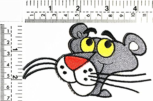 (Gray Cat head cat delivery pizza delivery fast food kids cartoon patch Applique for Clothes Great as happy birthday)
