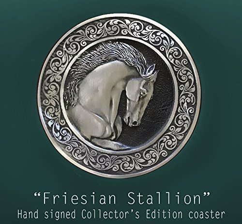 (Horse Lady Gifts coaster, Collectors Edition horse Coaster, Friesian Stallion, handmade USA)