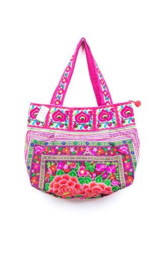 Black Garden Hill Tribe Tote Bag Hmong Embroidered Ethnic Thai Fair Trade