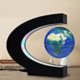 FU ZHOU Floating Globe Colored LED Lights C Shape Anti Gravity Magnetic Levitation Rotating World Map Children Gift Home Office Desk Decoration (Blue)