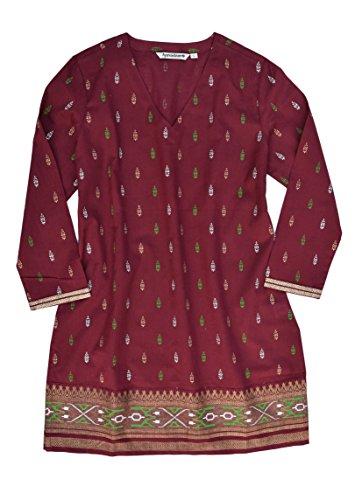 Hand Printed Cotton - Ayurvastram KRITI Hand Block Printed Cotton V Neck Tunic: Gold/Silver on Red 1X