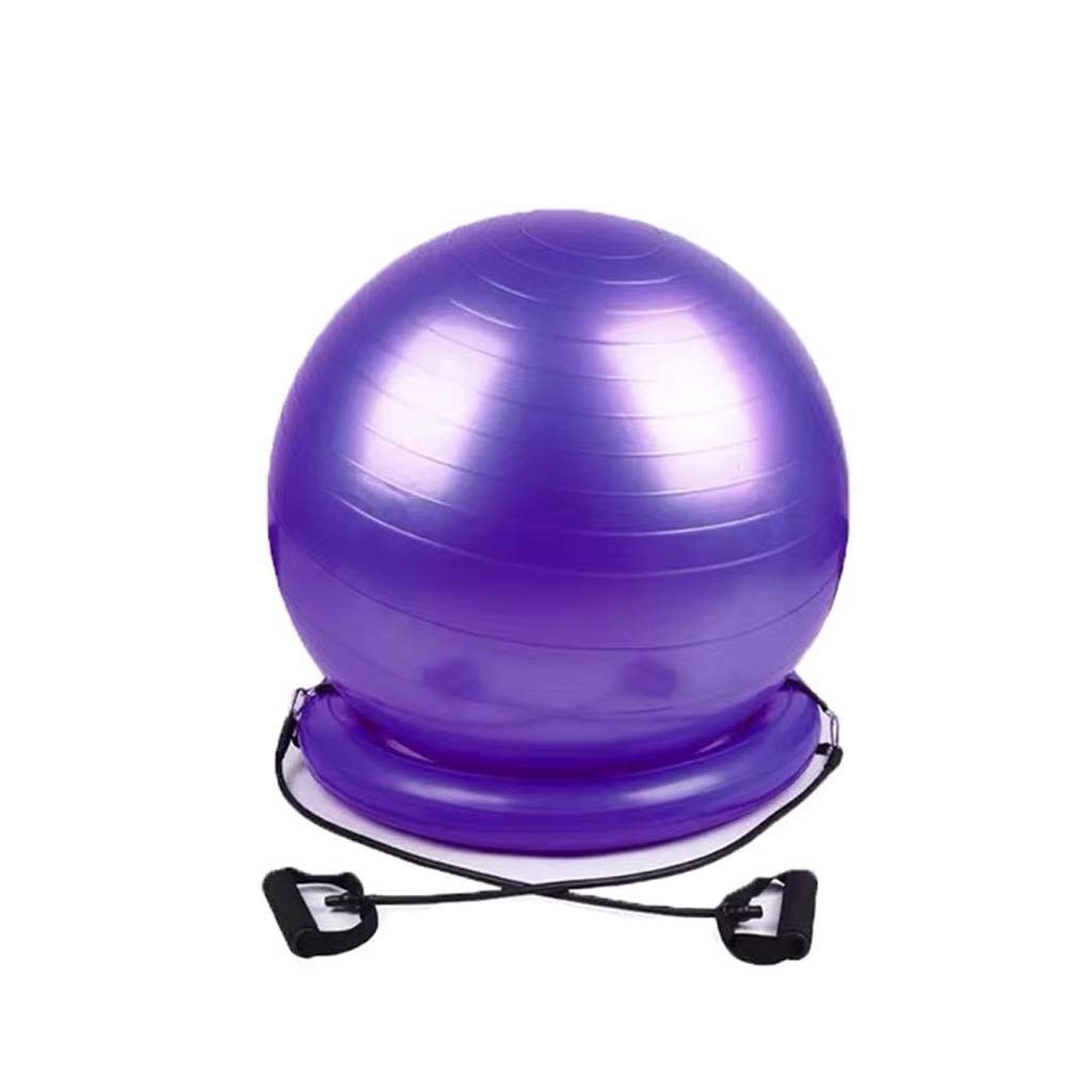TangMengYun Yoga Ball Thickening Explosion-Proof Yoga Ball Seat Fitness Ball Fixed Ring Base Child Pregnant Child Midwifery Ball (Color : Purple, Size : Three Piece Set)