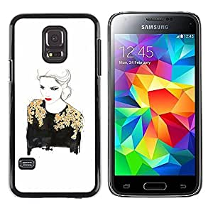 Exotic-Star ( Gold Lady Woman Red Lips White ) Fundas Cover Cubre Hard Case Cover para Samsung Galaxy S5 Mini / Samsung Galaxy S5 Mini Duos / SM-G800 !!!NOT S5 REGULAR!