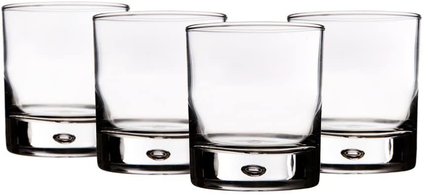 Set of 8 Home Essentials Red Series 10 Oz Bubble-bottomed Round Cut Drinking Glasses