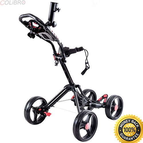 COLIBROX--Folding 4 Wheel Golf Pull Push Cart Trolley Club Umbrella on solar golf cart, 4 wheel luggage cart folding, 4 wheel golf caddy, 4 wheel hose cart, 4 wheel golf scooter, 4 wheel hand cart, garden push cart, 4wd golf cart, clicgear push cart, all terrain golf cart, motorized pull cart, 4 wheel platform cart, funny golf cart, 4 wheel heavy duty flat carts, micro golf cart, cadie golf cart, 3 wheel golf cart, aluminum push cart, 4 wheel gas golf carts, 4 wheel bag boy push cart,