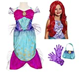 Disney Princess Ariel Little Mermaid Costume - Dress, Wig, Purse, Gloves