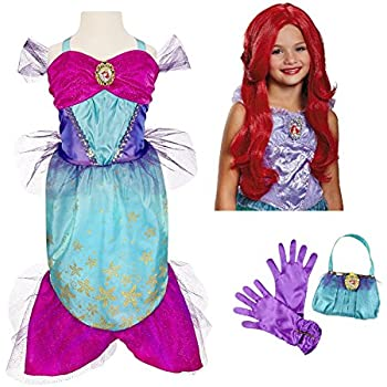 Disney Princess Ariel Little Mermaid Costume - Dress, Wig, Purse, Gloves