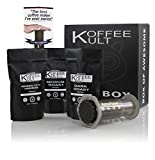 Koffee Kult Coffee Gift Basket - Variity of 3 Whole Bean Coffee - Dark Roast - Medium Roast - Harrar Coffees with Grinder and Areopress