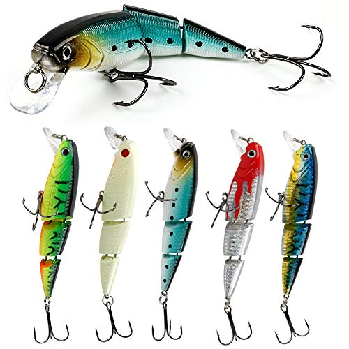 YONGZHI Minnow Fishing Lures Shallow Deep Diving Swimbait Crankbait Fishing Wobble Multi Jointed Hard Baits for Bass Trout Freshwater and Saltwater-Type3