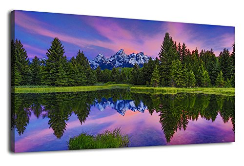Canvas Prints Wall Art Nature Painting Modern Large Canvas Artwork Panoramic Contemporary Pictures Sunset Trees Forest Beside Lake Snow Mountain for Home Office Decoration Panoramic Poster