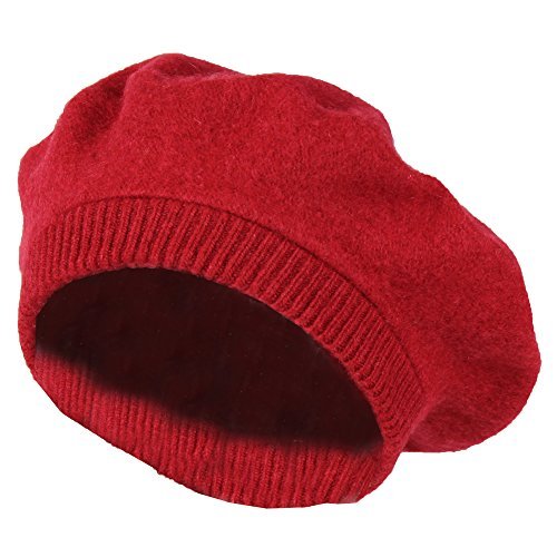 Red 100% Wool French Beret Hat w/ Knit Cuff – Slouchy Winter Beanie Cap