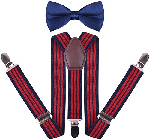 (YJDS Boys' Leather Suspenders and Pre Tied Bowtie Navy Red Stripe 26 Inches )