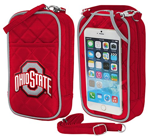 NCAA Ohio State Buckeyes Crossbody Bag Quilt-Embroidered Logo-Fits All phones-Charm14- Little Earth ()