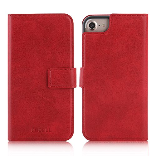 cucell iPhone 7Plus Case PU Leather Wallet Case stand coque, Hybrid Ultra-Slim Soft TPU Silicone Case with Credit Card Holder Kickstand Magnetic Closure (Red