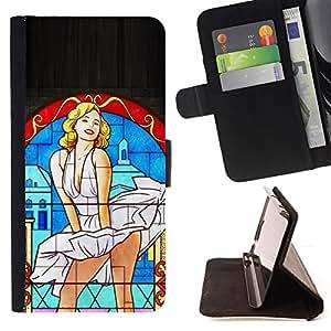 Jordan Colourful Shop - sexy monroe art white dress wind actress For LG OPTIMUS L90 - < Leather Case Absorci????n cubierta de la caja de alto impacto > -