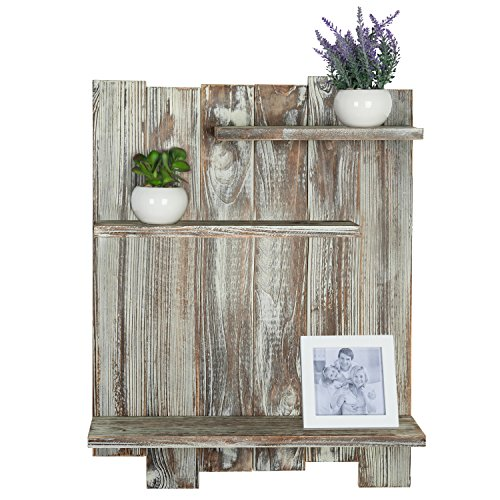 MyGift Rustic Torched Wood Pallet-Style Wall Mounted 3 ...