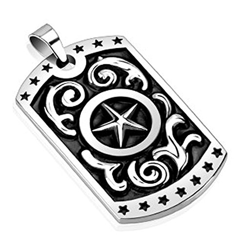 STR-0268 Stainless Steel Star with Middle Star Cast Dog Tag Pendant