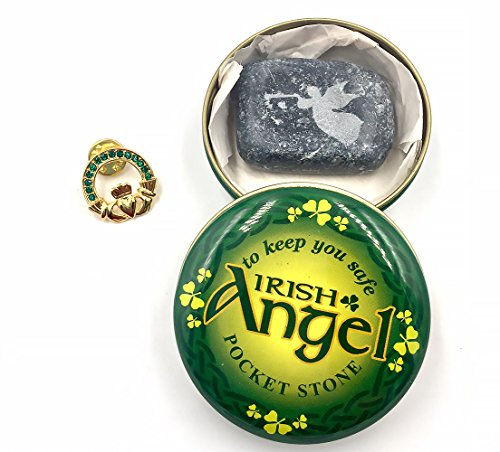 Claddagh Gold Plated Lapel Pin and Connemara Marble Pocket Angel ()