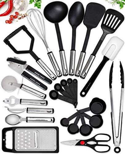 Home Hero Kitchen Utensil Set – 25 Nylon Cooking Utensils – Kitchen Utensils with Spatula – Kitchen Gadgets Cookware Set – Kitchen Tool Set