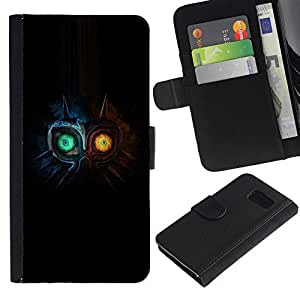 LECELL--Cuero de la tarjeta la carpeta del tirón Smartphone Slots Protección Holder For Samsung Galaxy S6 -- Dos búho Faced --
