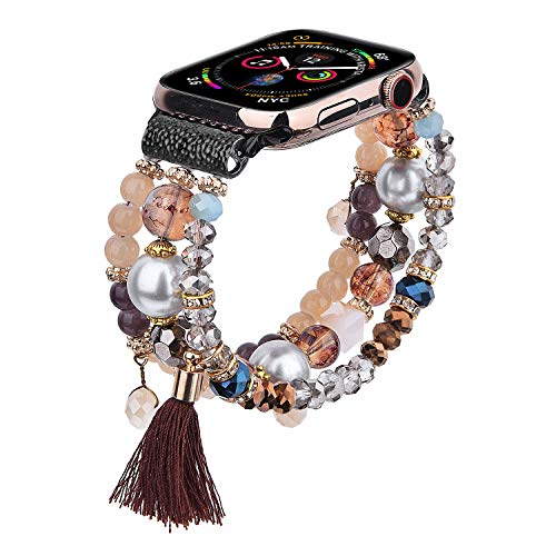 CAGOS Beadeds Bracelet Compatible for Apple Watch Bands 40mm/38mm Women Girl, Cute Handmade Fashion Elastic Beaded Strap Compatible for Apple iWatch Series 5/4/3/2/1(Brown, 38mm)