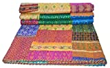 Elegant Designs Twin Size Patola Silk Patch Work Kantha Quilt, Kantha Blanket Bedspread, Patch Kantha Throw, Twin Kantha, Kantha Rallies Indian Sari Quilt, Size 60'' X 90''