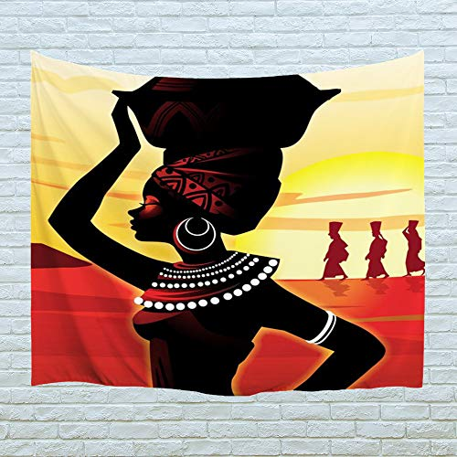PROCIDA Home Tapestry Wall Hanging Nature Art Polyester Fabric African Woman Theme, Wall Decor for Dorm Room, Bedroom, Living Room, Nail Included - 60