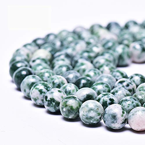 "Asingeloo Natural Green Dot Gemstones Beads for Jewelry Making Round Loose Spacer Stone Beads 8mm 15"" a Strand Gems Stone Beads for DIY Bracelets Necklace"