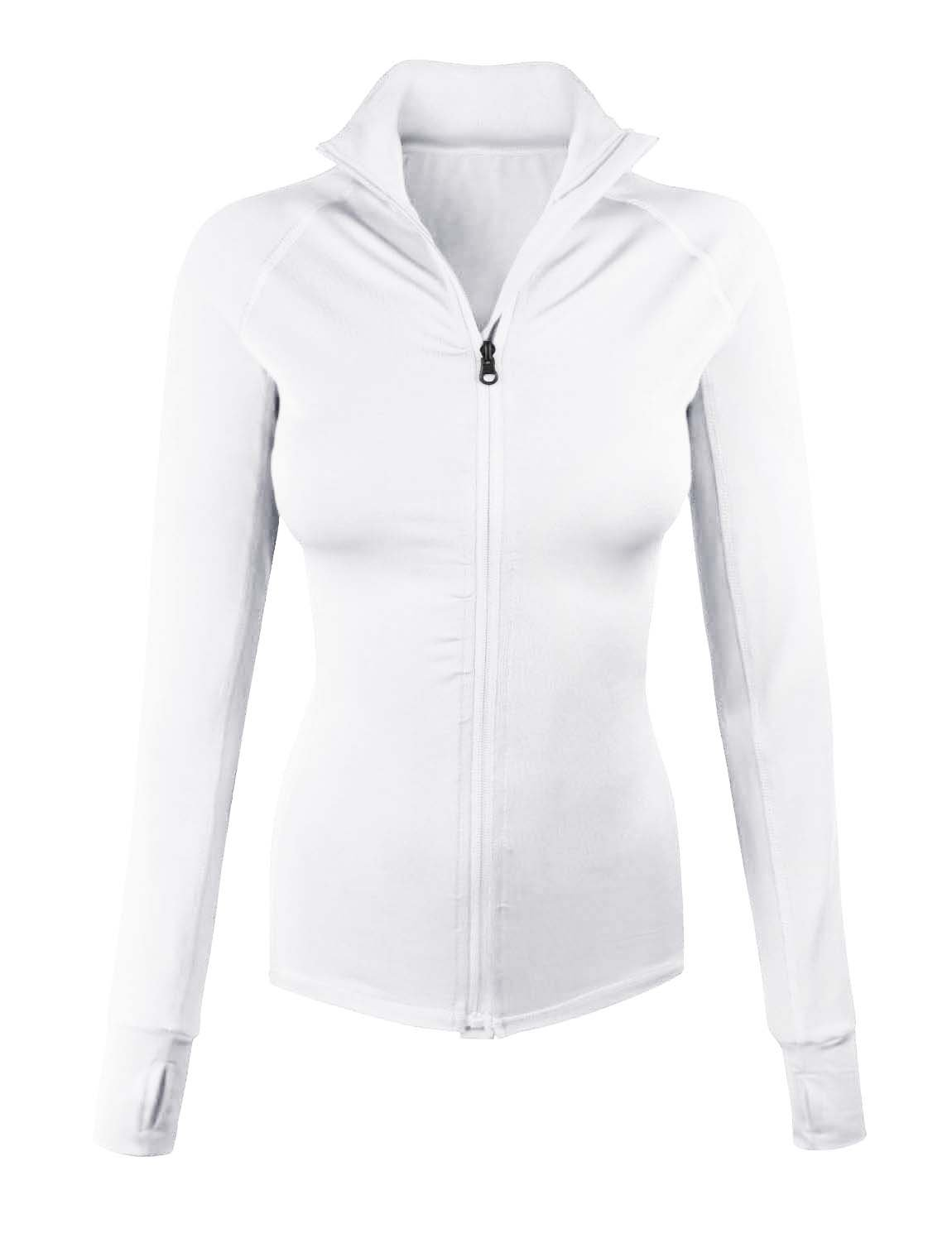 makeitmint Women's Comfy Zip Up Stretchy Work Out Track Jacket w/ Back Pocket SMALL YJZ0002_02WHITE