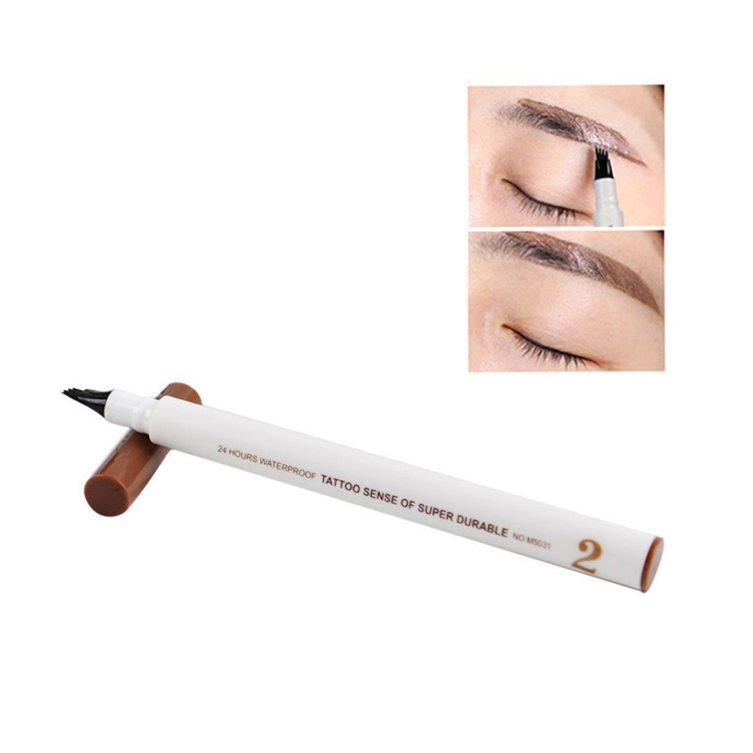 Waterproof Eye Brow Eyeliner Eyebrow Pen Pencil With Brush Makeup Cosmetic Tool WensLTD (Coffee)