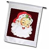 3dRose Sandy Mertens Vintage Christmas Designs - Large Happy Santa Claus Face Cartoon - 12 x 18 inch Garden Flag (fl_172752_1)