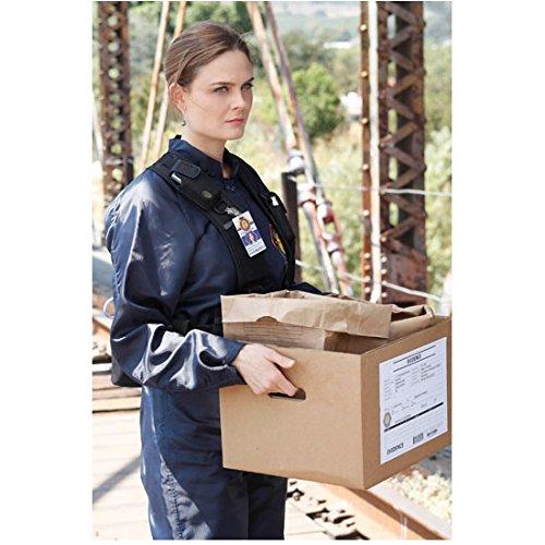Bones Emily Deschanel as Dr. Temperance Bones Brennan in Jumpsuit Holding Evidence Box 8 x 10 inch photo (Csi Jumpsuit)