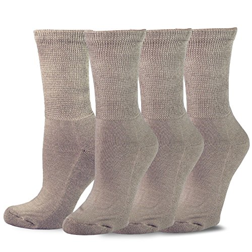 (TeeHee Viscose from Bamboo Diabetic Crew Socks 3-Pack (9-11, Taupe))