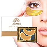 LA ARONET 24K Gold Eye Treatment Masks - (Pack of 20 Pairs) with Anti-Aging Wrinkle Reduction Collagen and Nutrients to Reduce Dark Circles, Bags, and Eye Puffiness, 5 EXTRA BONUS PAIRS included